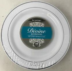 10.25 Party Essentials White with Silver Rim Plates (6 Packs of 40 Plates)