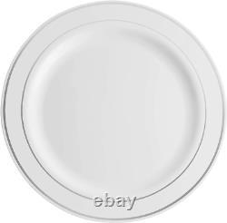 100 Piece Plastic Party Plates White Silver Rim, Premium Heavy Rim