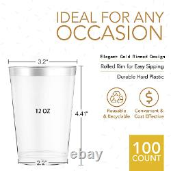 100 Silver Plastic Cups recyclable Wine glasses Silver Rimmed Wedding decoration