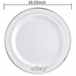 100Pieces Plates Silver Plastic Plates-10.25inch Rim Disposable Dinner For &