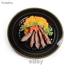 120 10 Dinner Plates China Look White, Bone, Black, Silver Disposable Plastic