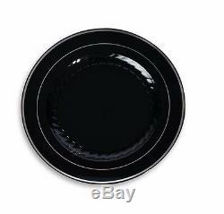 120 10 Plastic Disposable Wedding Dinner Plates China Look Black Silver Rim