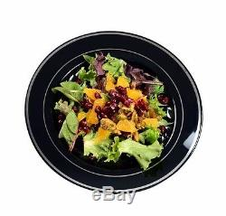 120 9 Dinner Plates Masterpiece Style Black-Silver Rim Disposable Plastic