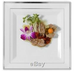 120 ct. 10 Square Dinner Plates White/Silver Rim Duty Look Real Wedding-Party