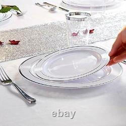 120PCS Silver Plastic Plates-Disposable Rim- Wedding Party Including 60Plastic