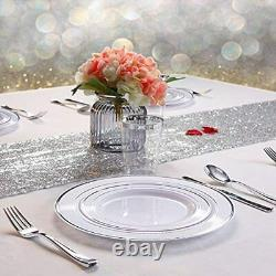 120PCS Silver Plastic Plates-Disposable With Rim- Wedding Party Including Dinner