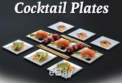120ct. 4.5 Square Trim Cocktail Plates White-Silver Rim Look Real Wedding-Party
