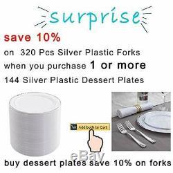 144 Pieces Silver Plastic 144 silver plastic dessert plates, Rim