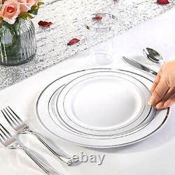 144 Pieces Silver Plastic Dessert Plates 7.5 Inch Disposable Salad Premium Rim