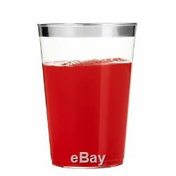 16 Oz Clear Plastic Cups Tumblers Silver Rimmed Cups Disposable Wedding Cups