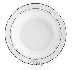 160 x 12oz Plastic Soup Bowls White With Silver Rim Heavy Duty Disposable