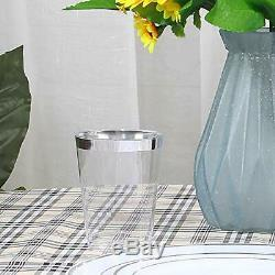 200pcs Silver Rimmed Plastic Cups, 10 OZ Clear Disposable Tumblers