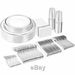 225PCS Silver Plastic Plates, Disposable Silverware, Cups & Hand Napkins, Rim