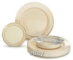 300 Pcs 60 Guest Wedding Dispose Plastic Ivory Gold Rim Plates Silver Silverware