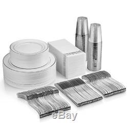 350 Pc Silver Dinnerware Set Silver Rim Plastic Plates Silver Plastic Silverware