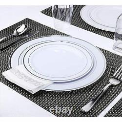 350 Piece MCIRCO Silver Dinnerware Set 100 Rim Plastic Plates Silverware Cups
