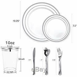 350 Piece Silver Dinnerware Set 100 Rim Plastic Plates Silverware Cups Linen