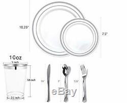 350 Piece Silver Dinnerware Set 100 Silver Rim Plastic Plates 50 Silver Plas
