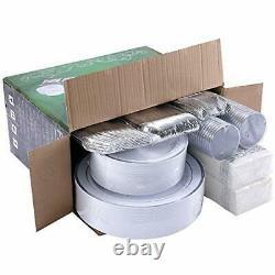 350 Piece Silver Dinnerware Set 50 Guest-100 Silver Rim Plastic Plates-50 Sil