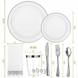 350 Piece Silver Dinnerware Set 50 Guest-100 Silver Rim Plastic Plates-50 Silver