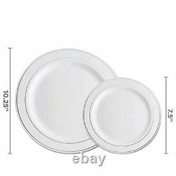350 Piece Silver Dinnerware Set 50 Guest Silver Rim Plastic Plates 50 Silver