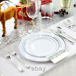350PCS Plastic Plates With Disposable Plasticware&Napkins- Rim Plastic Silver