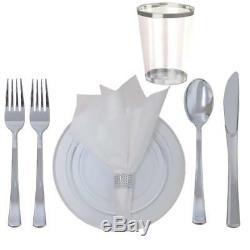 360 Piece Disposable Plastic Wedding Tableware Dinnerware Set. Silver Rimmed