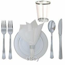 360 Piece Disposable Plastic Wedding Tableware Dinnerware Set. Silver Rimmed