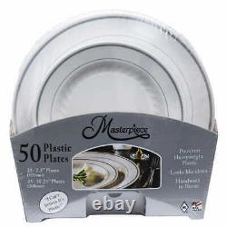 4x Masterpiece Plastic Plate with Silver Rim, 50-count (4 x 50 plates)