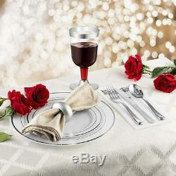 50 Disposable White Silver Rimmed Heavy Duty Plastic Plates 25 Dinner and