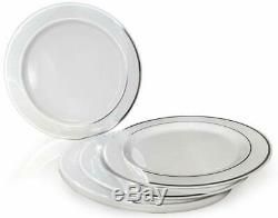50 Plastic Disposable Dinner Plates 10.25 inches White with Silver Rim Real Ch