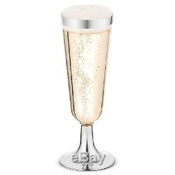 50 Plastic Silver Rimmed Champagne Flutes 5.5 oz. Clear Hard Disposable Party