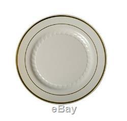 6 Bone/Gold Rim Dessert Plates Look Real Classy Ivory Silver Splendor Line