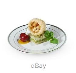 6 White/Silver Rim Dessert Plates Look Real Classy Silver Splendor Line WEDDING