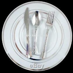 60 People Dinner Wedding Tableware Disposable Plastic Plates Silverware Rim Silv
