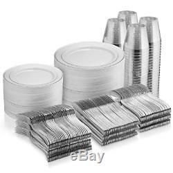 600 Pc Silver Dinnerware Set 100 Silver Rim 10 in Plastic Plates 100 Silver Rim