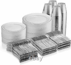 600 Piece Silver Dinnerware Set -100 Rim 10 inch Plastic