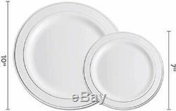 600 Piece Silver Dinnerware Set -100 Silver Rim 10 inch Plastic Plates 100