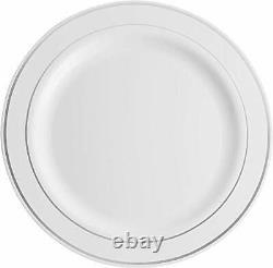 600 Piece Silver Dinnerware Set -100 Silver Rim 10 inch Plastic Plates 100 Rim 7