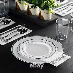 600 Piece Silver Dinnerware Set -100 Silver Rim 10 inch Plastic Plates 100 Si