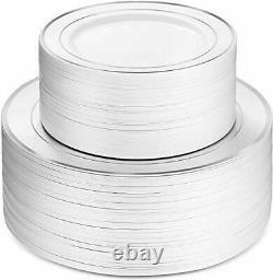 600 Piece Silver Dinnerware Set -100 Silver Rim 10 inch Plastic Plates 100 Silve