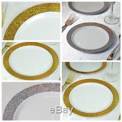 7.5 White Round Plastic Disposable Dessert Plates with Shiny Dust Rim SALE