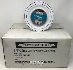 7 Party Essentials White with Silver Rim Plates (5/6 Packs of 70 Plates)