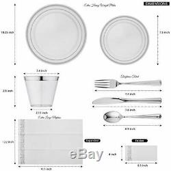 700 Piece Silver Dinnerware Set -100 Plastic Dinner Plates 100 (700Silver Rim)