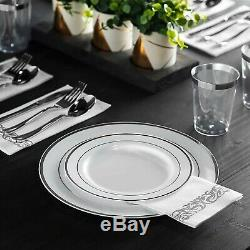 700 Piece Silver Dinnerware Set 200 Silver Rim Plastic Plates 100 Silver