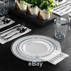 700 Piece Silver Dinnerware Set 200 Silver Rim Plastic Plates 100 Silverware