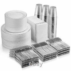 700 Piece Silver Dinnerware Set 200 Silver Rim Plastic Plates 300 Silver Pla