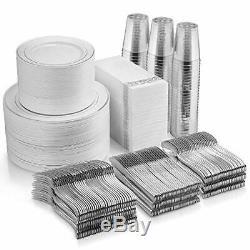700 Piece Silver Dinnerware Set 200 Silver Rim Plastic Plates High Quality