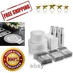 700 Piece Silver Disposable Dinnerware Set Rim Plastic Plate 100 Guest Wedding