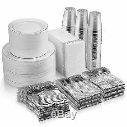 700 Piece Silver Plastic Tableware Set Rim Party Supplies Kit for 100 Guests
